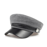 VORON 100% Black Leather Fixed Crown Silver Buckle Cotton Navy-style Fashion Hat