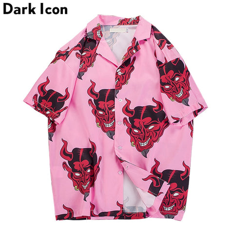 Dark Icon Devil Summer Hawaii Style Men's Street Shirt