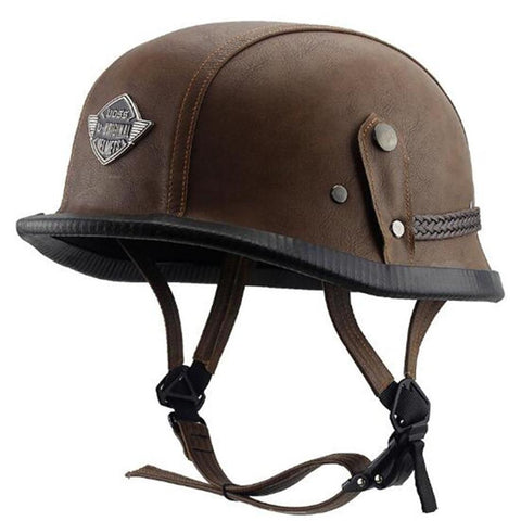 Wanli WWII-Style Leather DOT Approved Acorn Motorcycle Helmet
