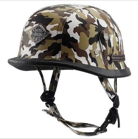 Acorn Style Leather Camouflage DOT Approved Motorcycle Half Helmet