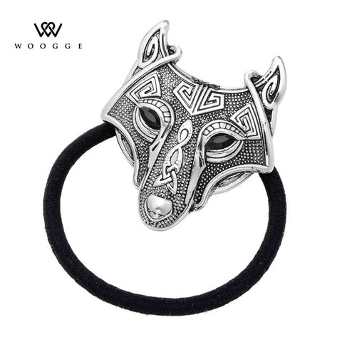 Woogge Norse Vikings Crystal Wolf Head Black Elastic Hair Rubber Bands