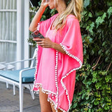 OULING Lace Tassel Crochet Cover Up Tunic Beach Dress