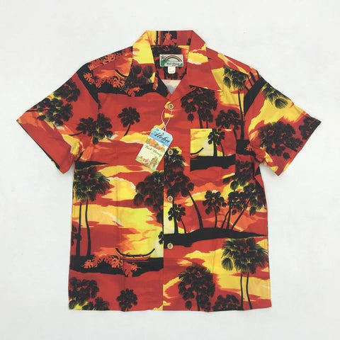 BOB DONG Mens Aloha Sunset Men Casual Hawaiin Shirts