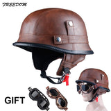 LDMET Half-Face Retro German DOT Approved Motorcycle Helmet w/ Goggles
