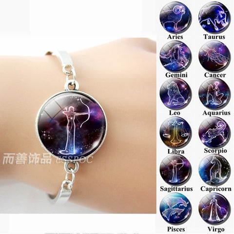 ESSPOC Zodiac Signs Glass Dome Constellations Silver Metal Bracelet