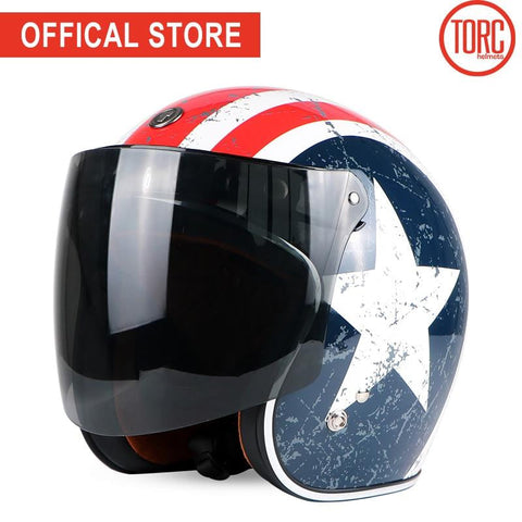 TORC Open Face Retro Helmets with Goggle Straps and Visor