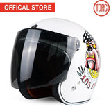 TORC Open Face Retro Helmets with Goggle Straps and Visor | calizota