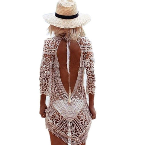 BKNING Crochet Cover Up Tunic Beach Dress