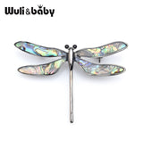 Wuli&baby Vintage Shell Oil Enamel Dragonfly Insect Brooch Pin