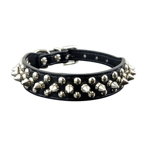 MyChang 2.5cm Width PU Leather Round Spikes Studded Pet Collar