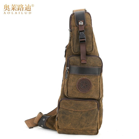 AOLAILUDI Vintage Waterproof Canvas or Nylon Crossbody Shoulder Messenger Bag