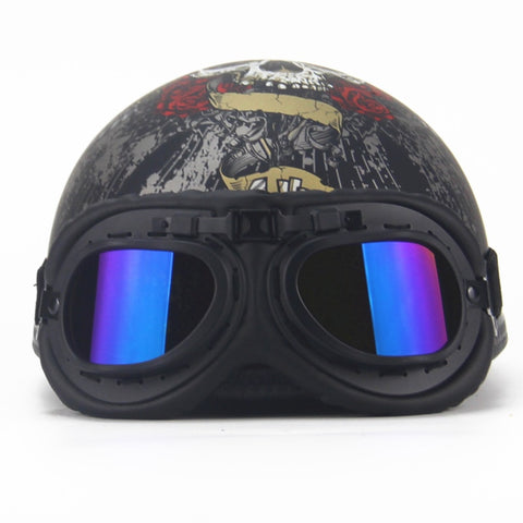 AHP Retro Vintage Open Face Motorcycle Half Helmet with Visor UV Goggles