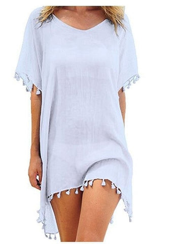 Matteobenni Chiffon Tassel Beach Tunic Swimsuit Cover Up