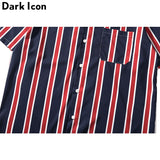 Dark Icon Striped Front Pocket Summer Hawaii Style Men's Street Shirt
