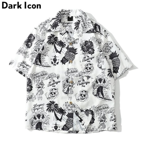 Dark Icon Skeleton Full Printed Retro Casual Shirt