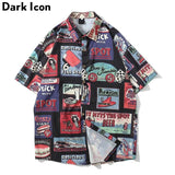 Dark Icon Beer Label Printed Vintage Casual Shirts for Men