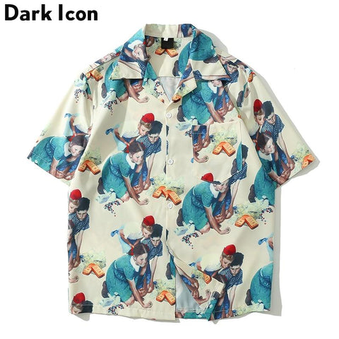 Dark Icon Rockwell Printed Vintage Casual Shirts for Men