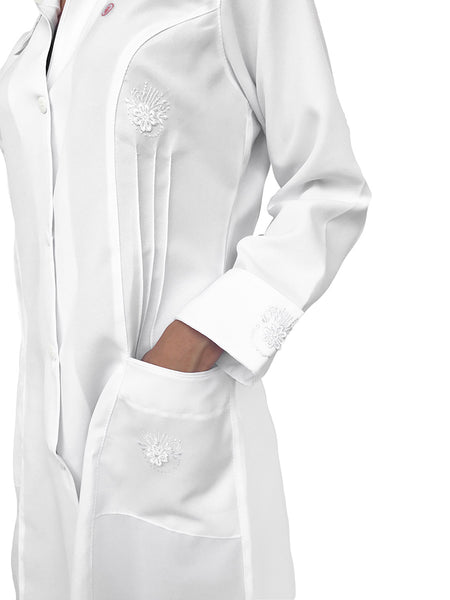 Raissa White Handmade  Embroidered Lab Coat