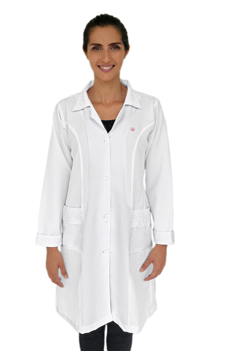 White embroidered Lab Coats
