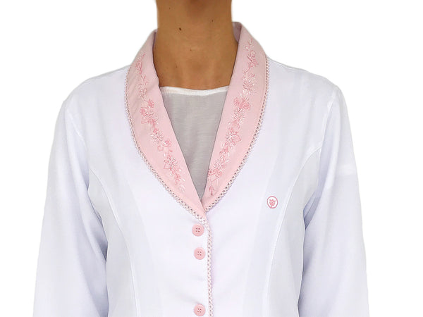 Gessica Pink Handmade Embroidered Lab Coat