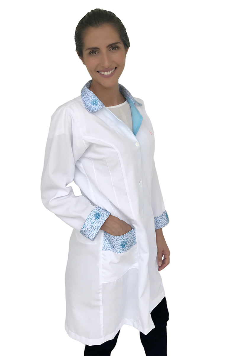 Colorful embroidered Lab Coats