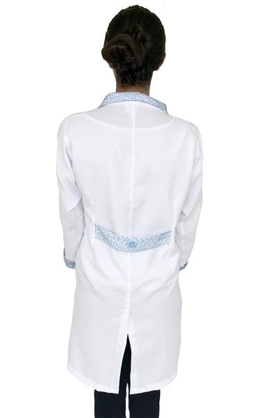 Vies Blue Handmade Embroidered Lab Coat