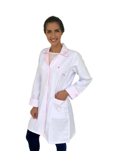 Raissa Pink Handmade  Embroidered Lab Coat