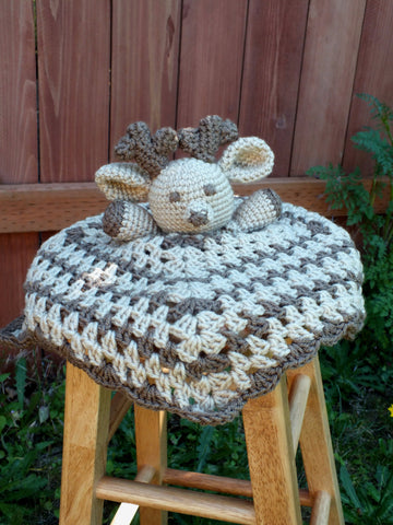 Baby deer lovey blanket - crochet lovey blanket