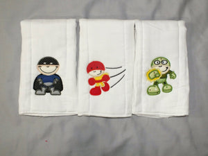 Baby boy superheroes burp cloth set - personalized burp cloths