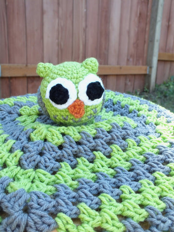 Baby boy owl lovey blanket - crochet lovey blanket