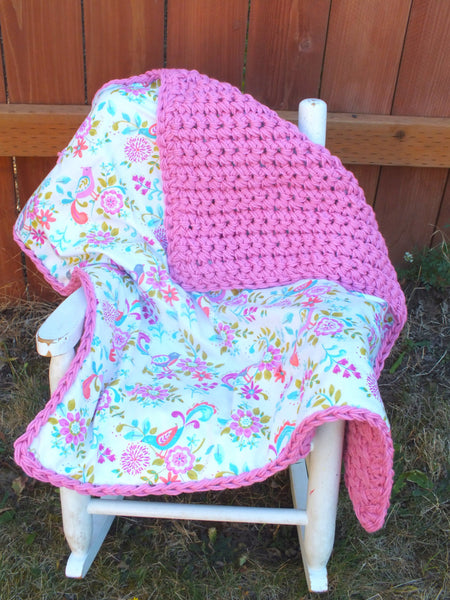 Baby girl bird blanket - crochet blanket - double sided blanket