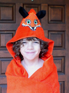 Fox hooded towel - boy hooded towel -personalized hooded towel