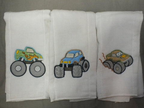 Monster truck baby boy burp cloths - personalized burp cloth