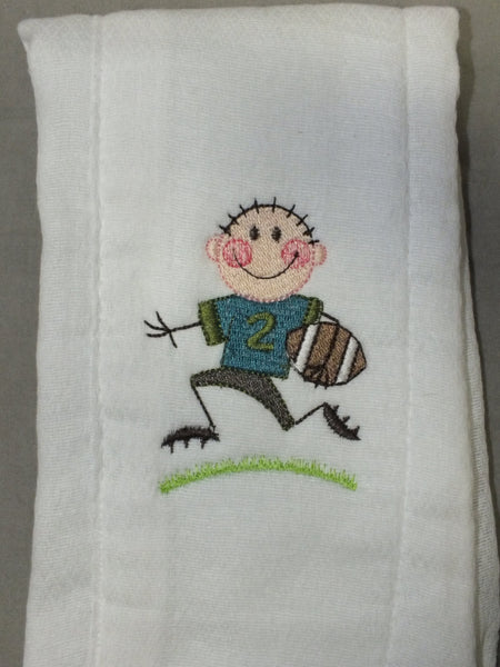 Baby boy football burp cloth -  personalized burp cloth
