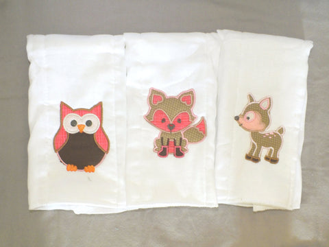 Woodland animals burp cloth - personalized burp cloth
