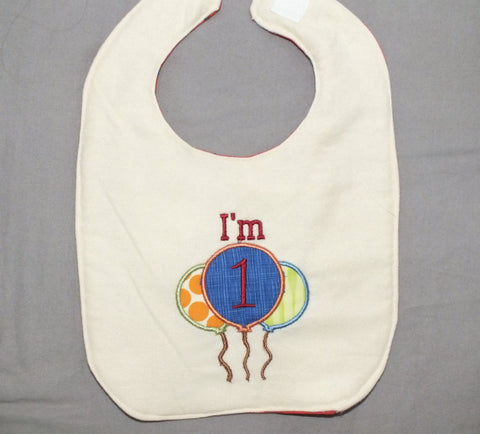1st birthday baby boy bib - balloon bib