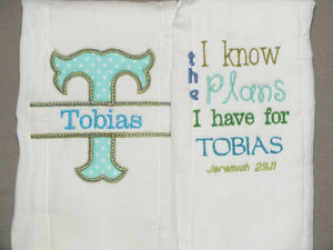 Personalized baby boy burp cloths - Jeremiah 29:11 baby burp cloth