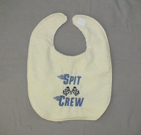 Baby boy race car bib - spit crew bib