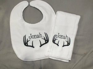 Personalized antler burp cloth and bib