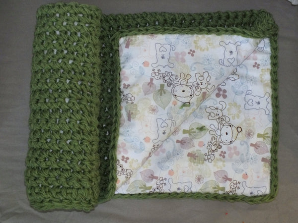Baby girl woodland animal crochet blanket green baby girl blanket