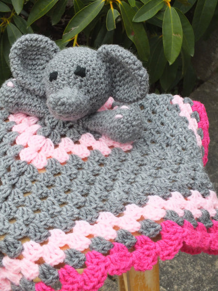 Baby girl elephant lovey blanket - crochet lovey blanket