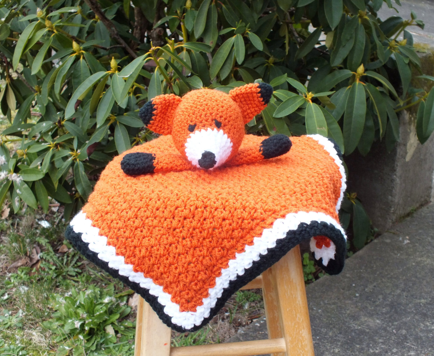 Baby girl fox lovey blanket - crochet lovey blanket