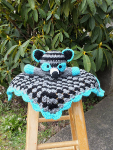 Baby girl raccoon lovey blanket crochet lovey blanket