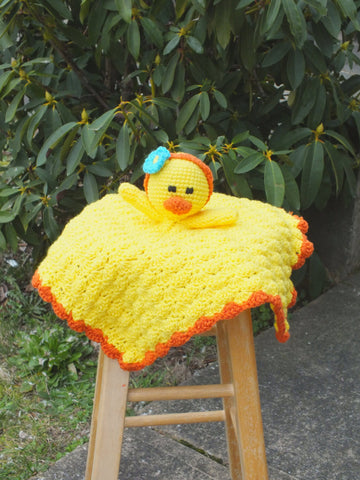 Baby duck lovey blanket - crochet lovey blanket