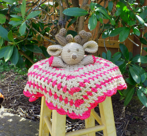 Baby girl deer lovey blanket - crochet lovey blanket