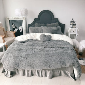 Fluffy Faux Lambswool Bed Set (4/6/7 pcs) - Grey