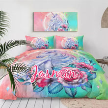 Load image into Gallery viewer, Customised Rose Unicorn Quilt Cover Set