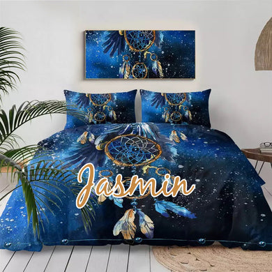Customised Blue Dreamcatcher Quilt Cover Set
