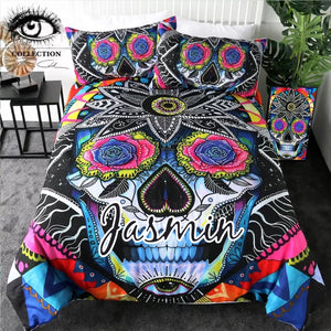 Customised Sugar Skull by Pixie Quilt Cover Set