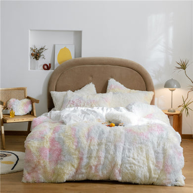 Fluffy Velvet Fleece Quilt Cover and pillowcases - Pale Rainbow